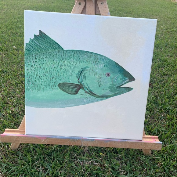 🌾 Freshwater Fish Painting 12 x 12 canvas